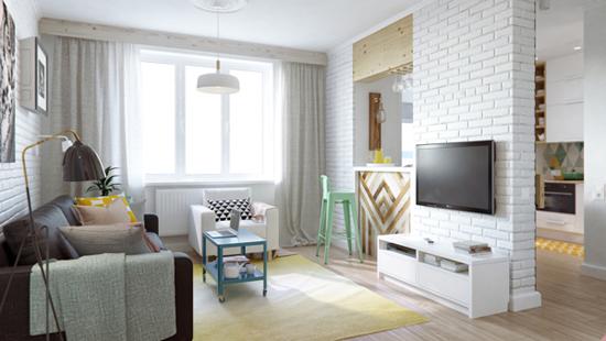 thiết kế nội thất 45m2 2 phòng ngủ