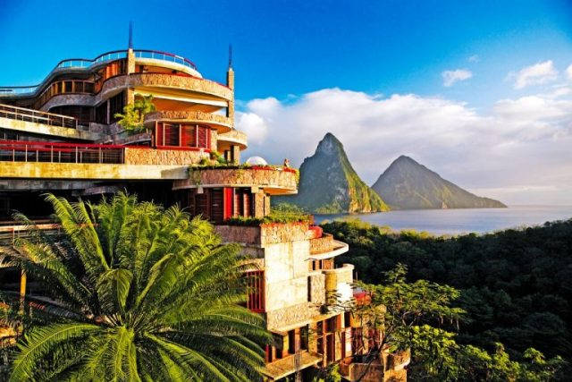 ngoại thất biệt thự Jade Mountain St Lucia