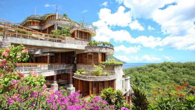 ngoại thất biệt thự Jade Mountain St Lucia 2