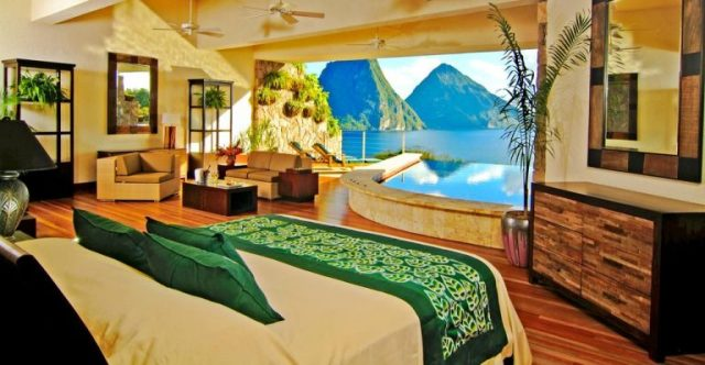 phòng ngủ biệt thự Jade Mountain St Lucia