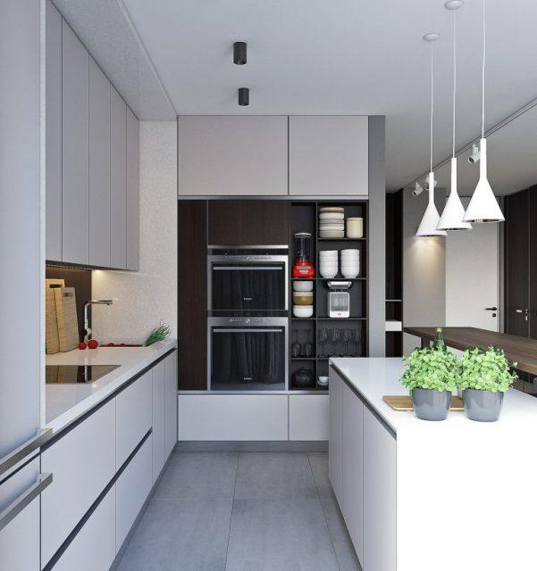 thiết kế phòng bếp chung cư hiện đại 2