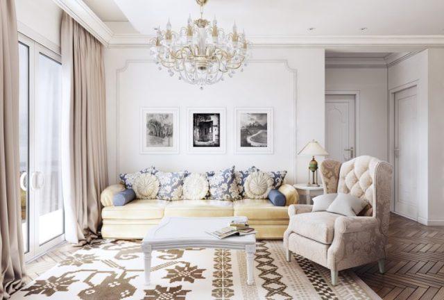 thiết kế phòng khách chung cư phong cách tân cổ điển 2