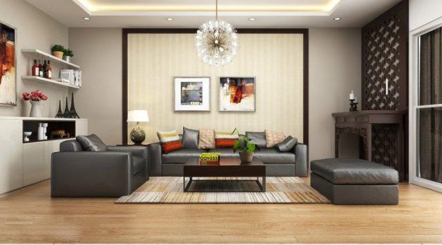 thiết kế nội thất phòng khách có bố trí bàn thờ