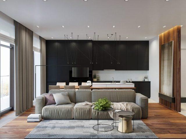 thiết kế phong khách chung cư 2 phòng ngủ 1