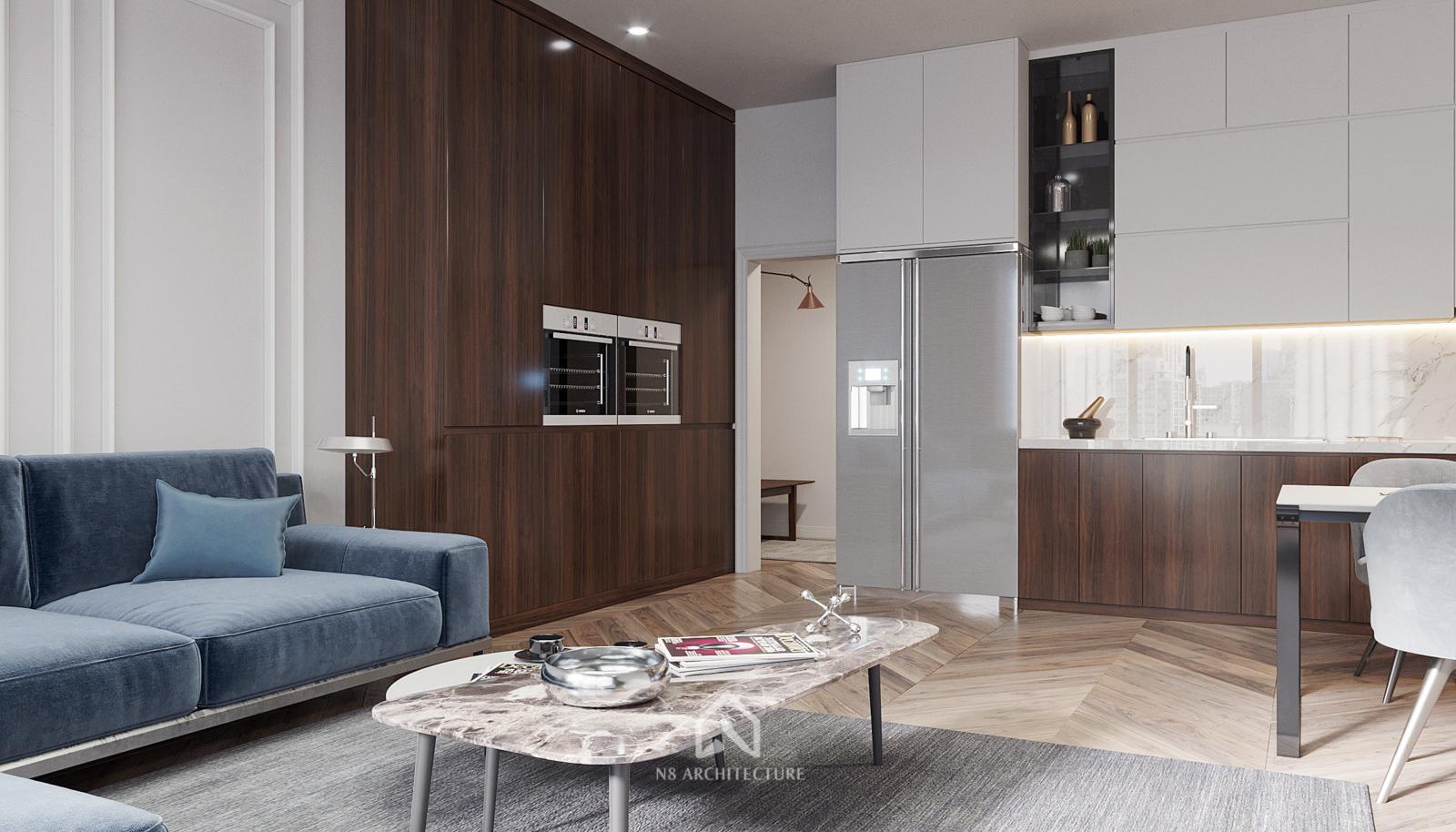 thiết kế nội thất phòng khách chung cư vinhomes metropolis 3