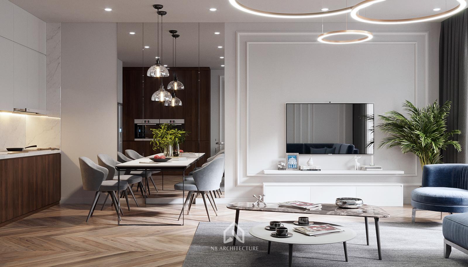 thiết kế phòng khách chung cư vinhomes metropolis