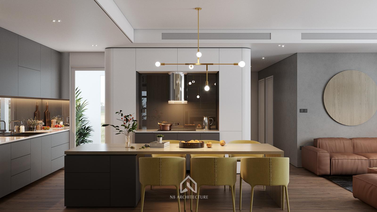 thiết kế nội thất phòng bếp chung cư seasons avenue 2
