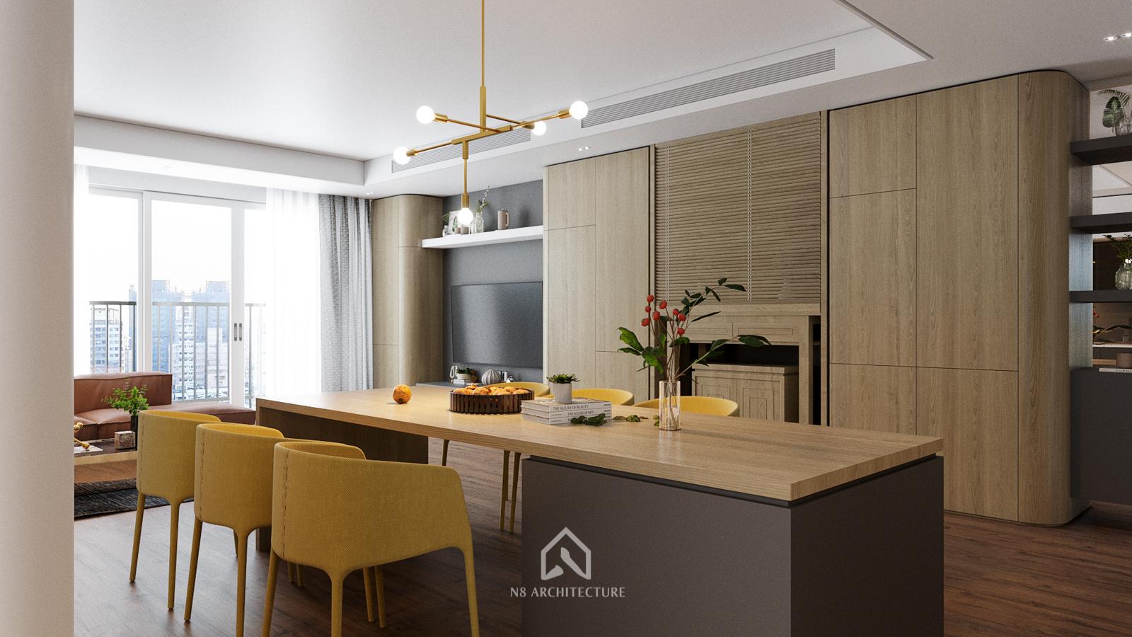 thiết kế nội thất phòng bếp chung cư seasons avenue 3