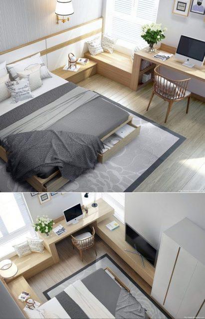 bố trí phòng ngủ 20m2 3