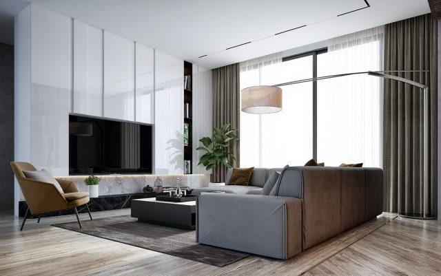phòng khách chung cư đẹp hiện đại