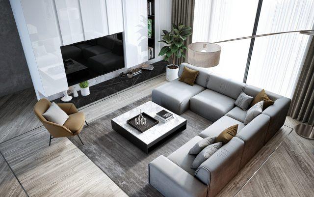 phòng khách chung cư đẹp hiện đại 2