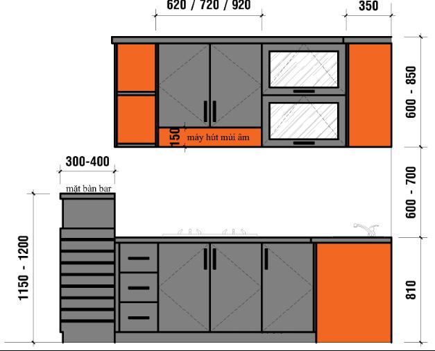 diện tích phòng bếp tiêu chuẩn 11
