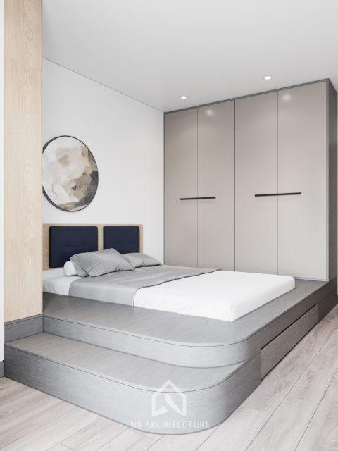 thiết kế nội thất phòng ngủ chung cư Tứ Hiệp Plaza 6