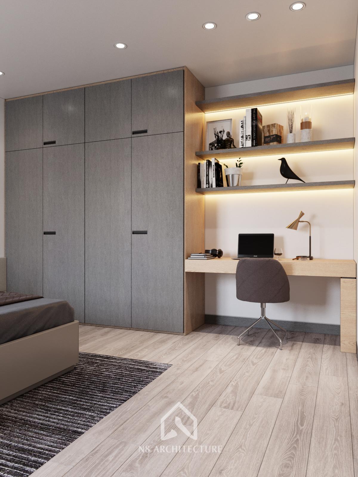 thiết kế nội thất phòng ngủ chung cư Tứ Hiệp Plaza 8