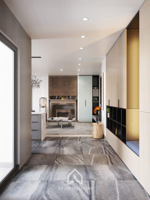thiết kế nội thất phòng khách chung cư Tứ Hiệp Plaza 2