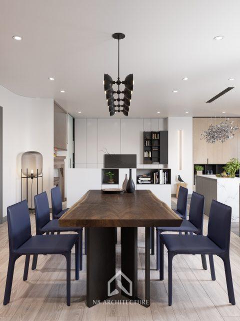 thiết kế nội thất phòng khách chung cư Tứ Hiệp Plaza 4