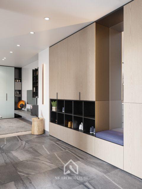 thiết kế nội thất phòng khách chung cư Tứ Hiệp Plaza 6