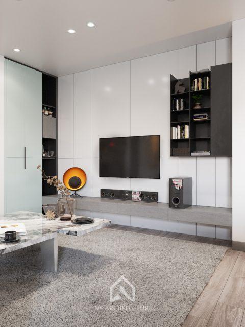 thiết kế nội thất phòng khách chung cư Tứ Hiệp Plaza 8