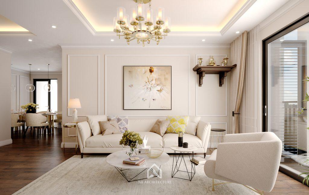 thiết kế nội thất khách bếp chung cư An Bình City 2