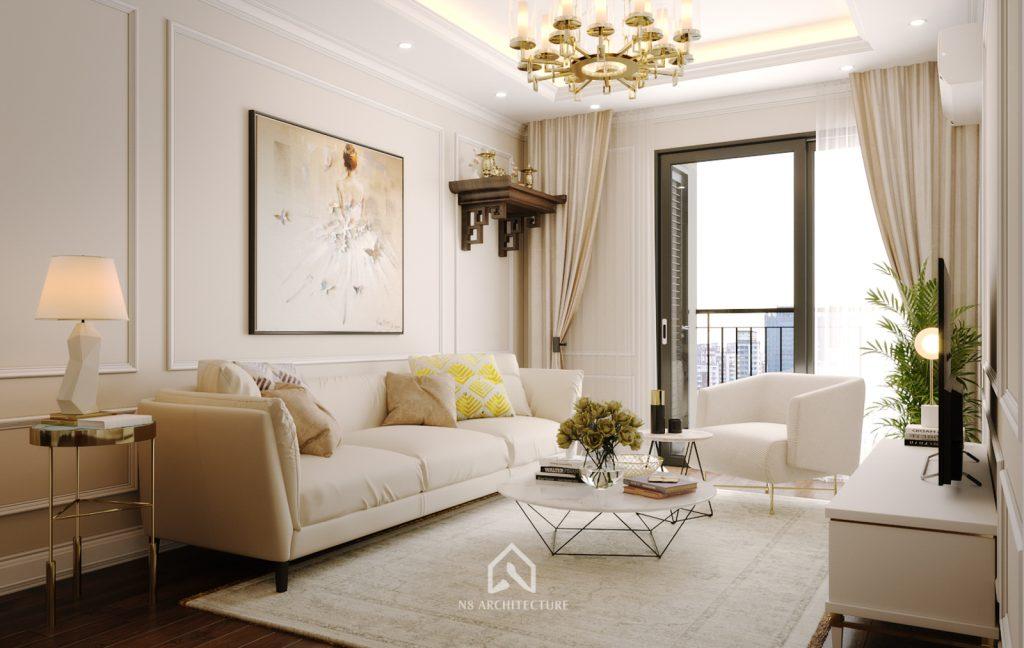 thiết kế nội thất khách bếp chung cư An Bình City 3