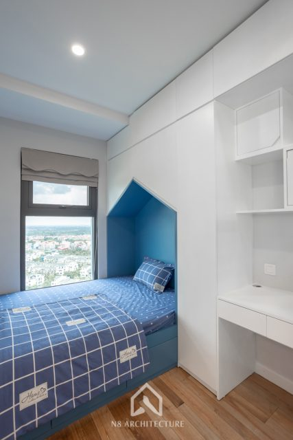 thi công nội thất phòng ngủ con trai chung cư West Bay Ecopark 7