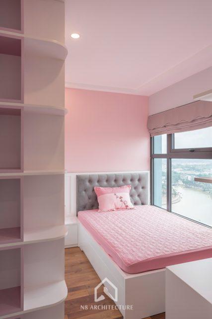 thi công nội thất phòng ngủ con gái chung cư West Bay Ecopark 11