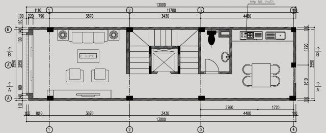 bản vẽ mặt bằng phòng khách và cầu thang 6