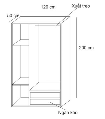 kích thước tủ quần áo 3 buồng 11