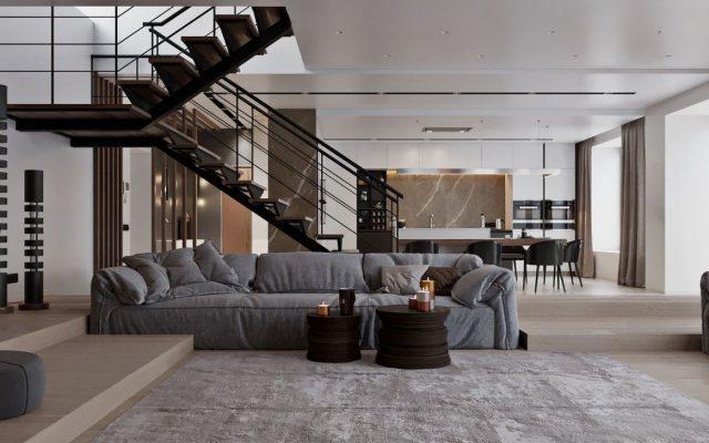 thiết kế phòng khách có cầu thang 8