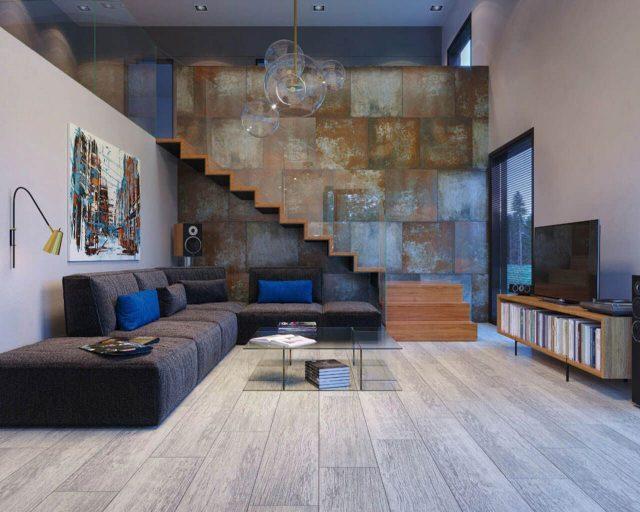 thiết kế phòng khách và cầu thang 7