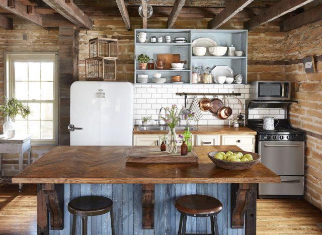 bàn đảo bếp gỗ