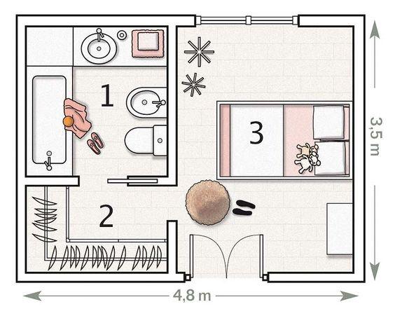 bản vẽ phòng ngủ có toilet 3