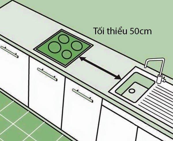 khoảng cách giữa bếp và chậu rửa hợp lý