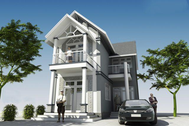 nhà 2 tầng chữ l đẹp