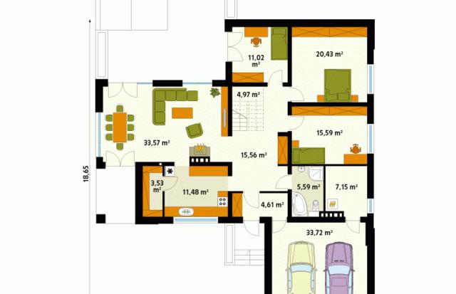 mẫu nhà cấp 4 100m2 3 phòng ngủ mẫu 1