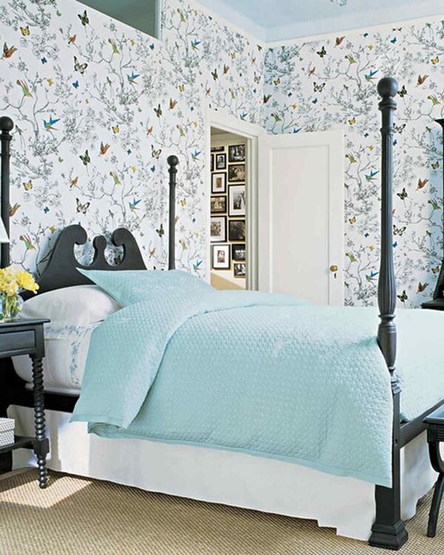 giấy dán tường màu xanh dịu nhẹ 1