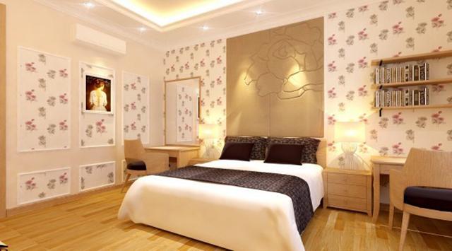 giấy dán tường phòng ngủ màu hồng đẹp sang chảnh 3