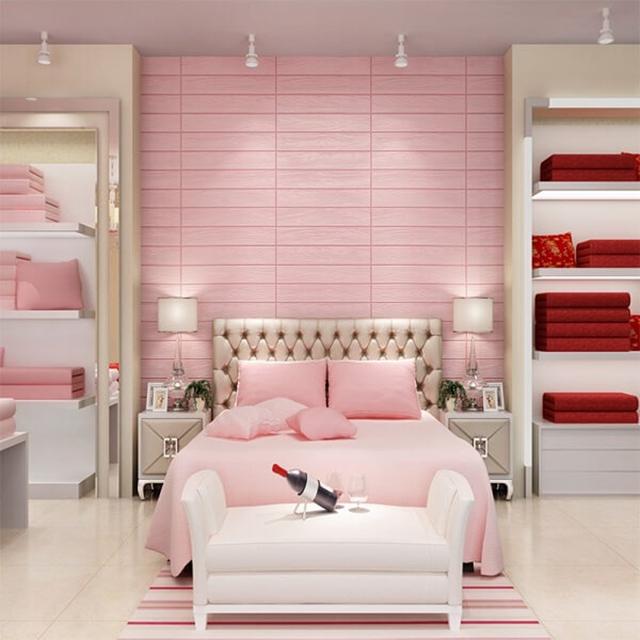 giấy dán tường phòng ngủ màu hồng đẹp sang chảnh