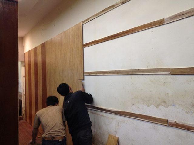 quy trình thi công gỗ ốp tường