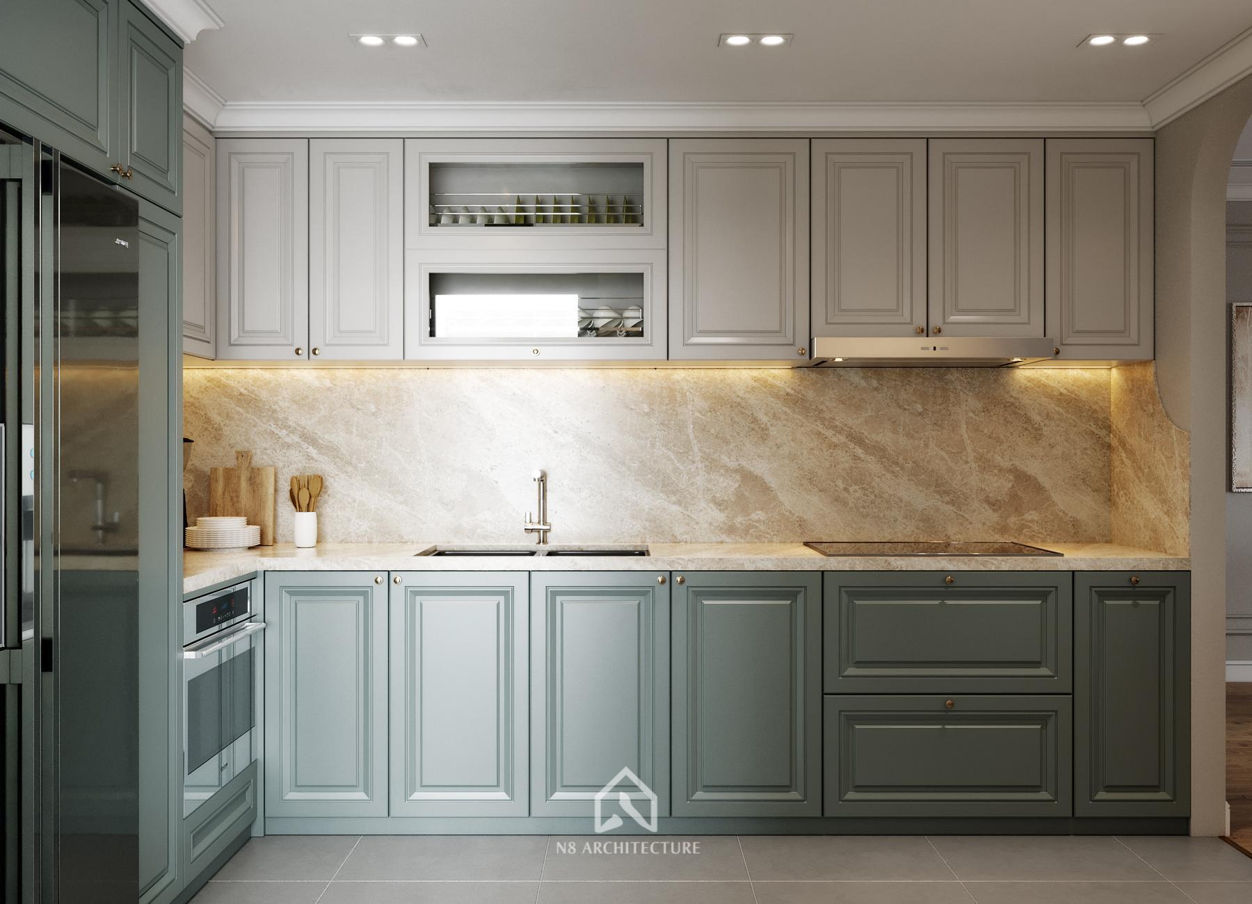 thiết kế nội thất bếp chung cư paragon