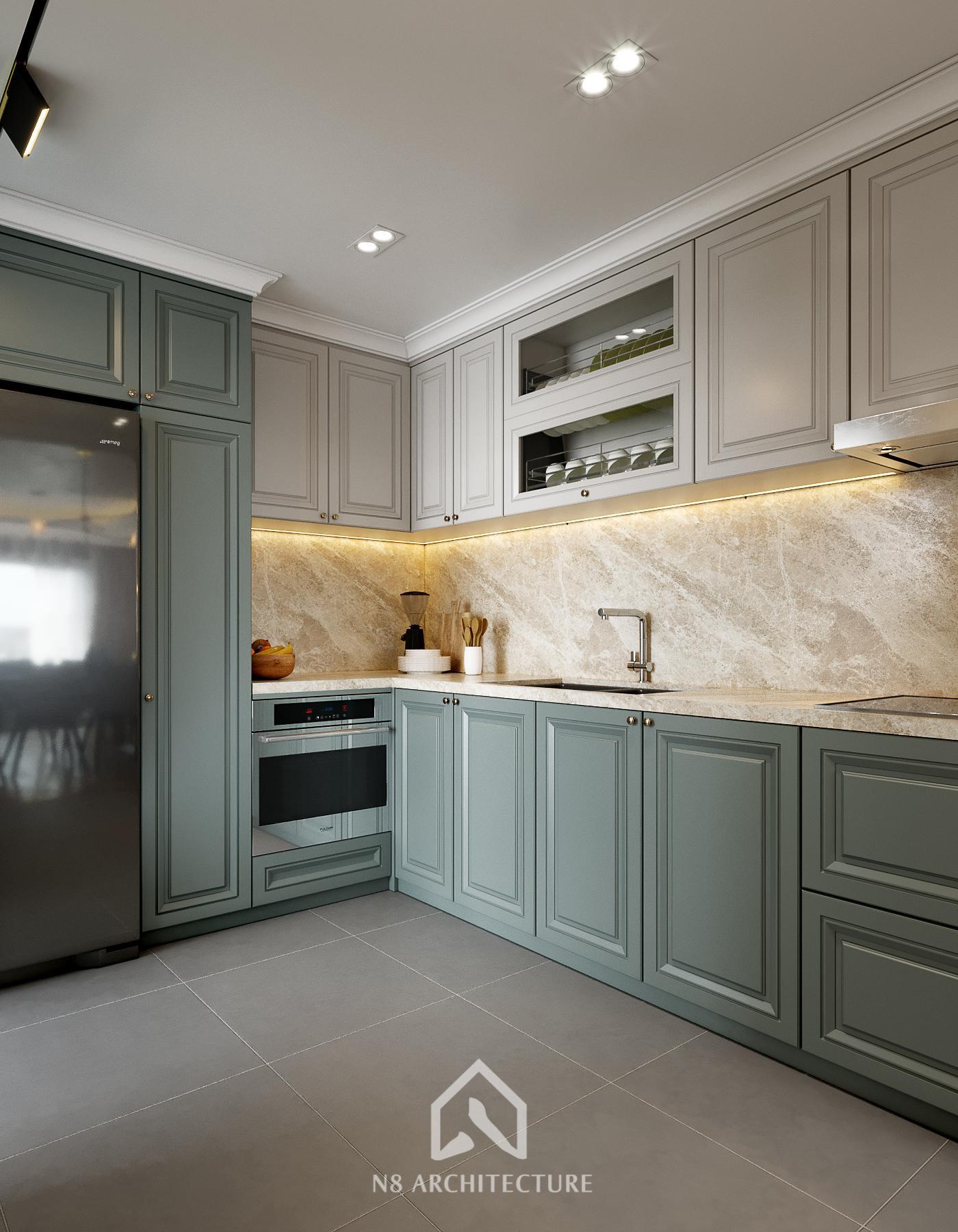 thiết kế nội thất bếp chung cư paragon 2