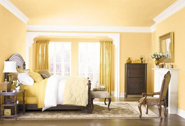 phòng ngủ màu vàng