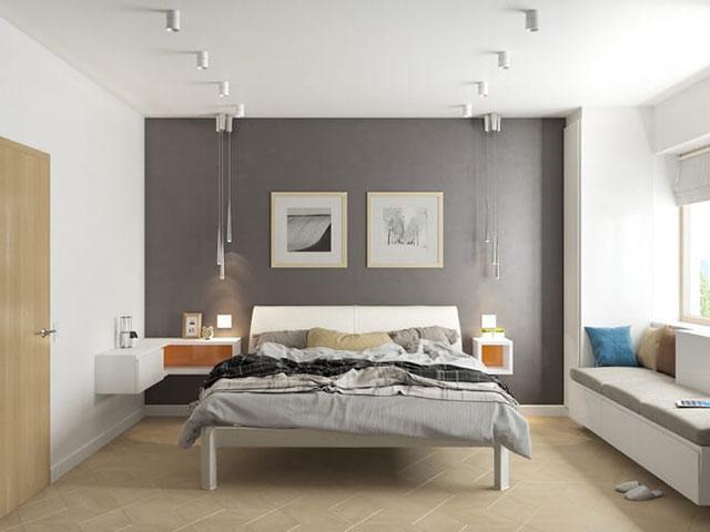 phòng ngủ màu xám