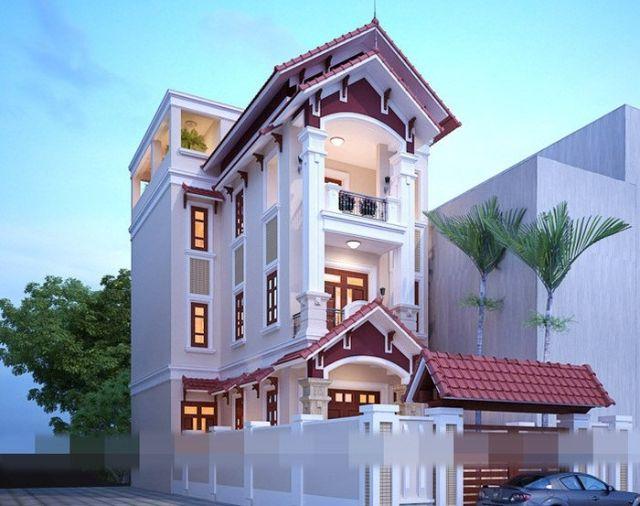 nhà phố 3 tầng bán cổ điển mái thái