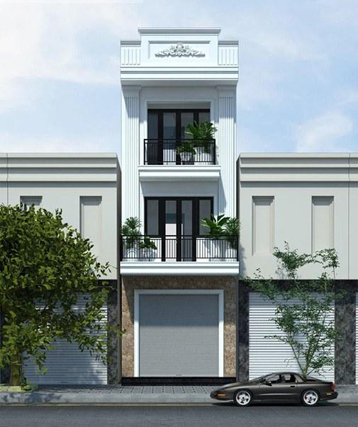 mẫu nhà phố mặt tiền 5m cổ điển