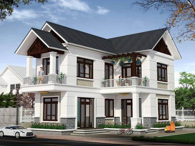 nhà phố mái Thái 2 lầu dạng chữ L