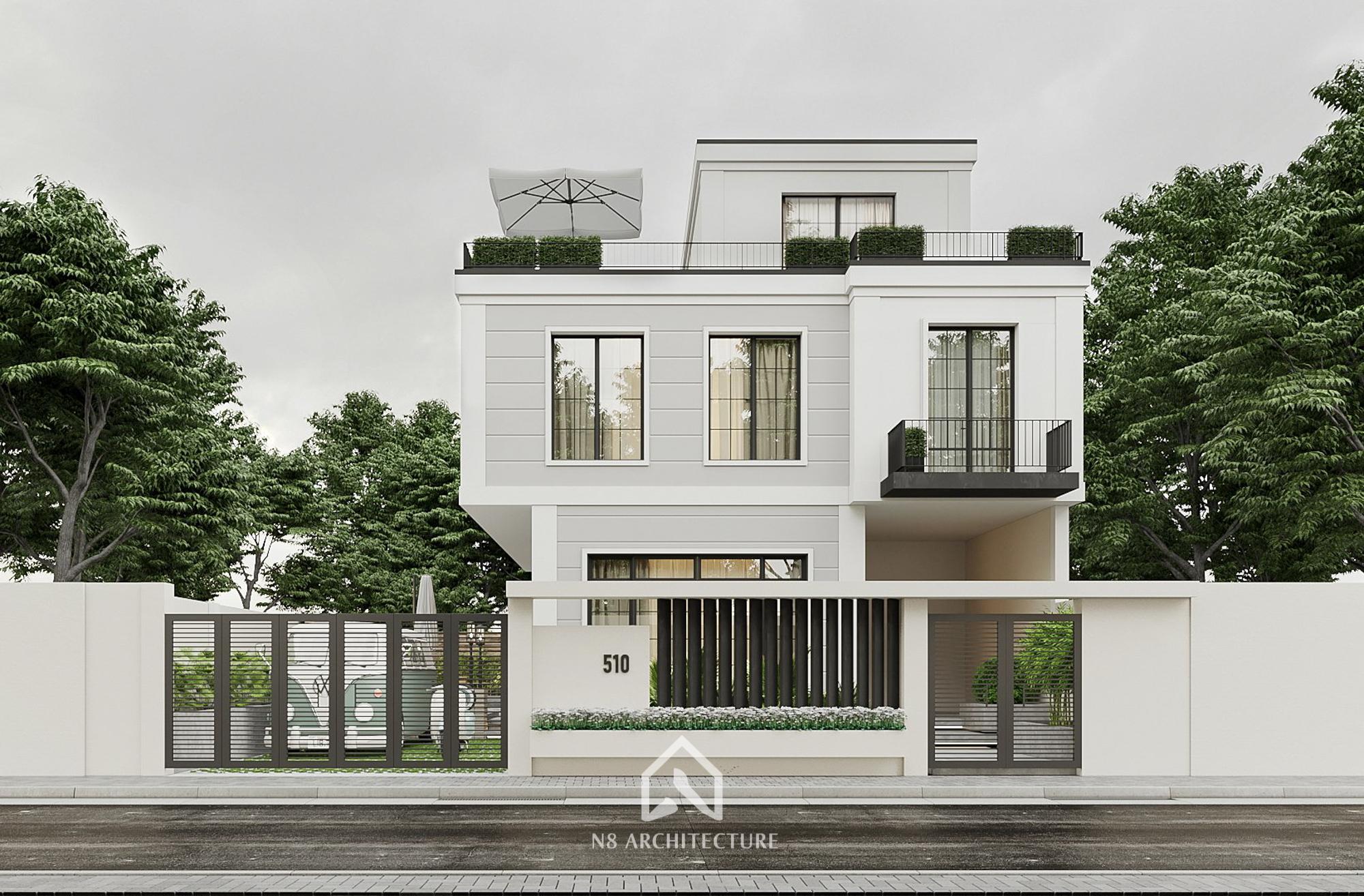 thiết kế kiến trúc biệt thự 2 tầng 1 tum hiện đại 4